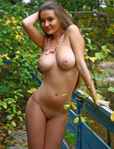 Nude Sanya showing big natural boobs at the backyard
