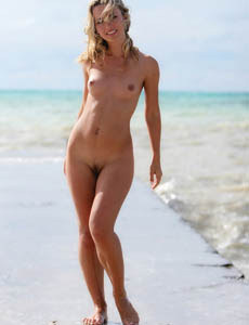 Puffy nipples sexy blonde Natalya with hairy beaver nude on the shore