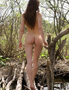 Exciting Konstansia with hairy beaver naked outdoor