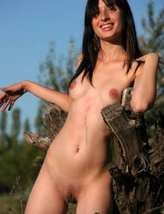 Wonderful hairy pussy brunette Kati gor nipples puffy outside on the field