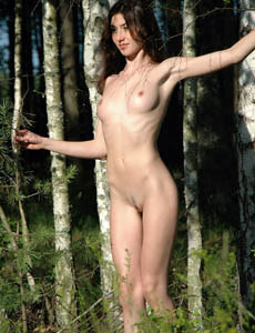 Hairy pussy young brunette hottie Kateryna nude in the forest with her nipples erected