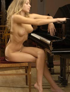 Beautiful busty young blonde Ina got sexy ass playing a piano