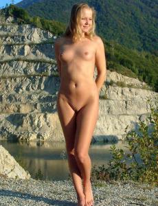 Tiny tits Dani by the lake