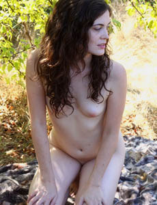 Tiny tits Ava in the field