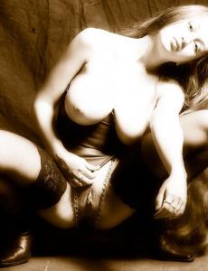 Hairy pussy busty master Aneli in bondage and nylon