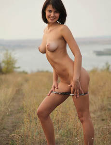 Sweet breasted Amelie in the field got puffy nipples