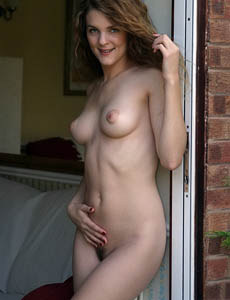 Aimee busty housewife with hairy pussy