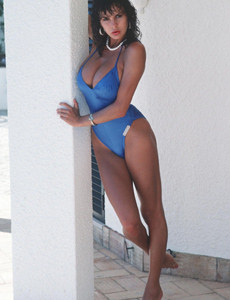 Big boobs Donna Ewit has hairy bush in blue swimsuit