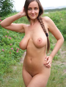 Big boobs Eekat in white underwear going nude in the field