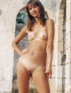 Exciting blue bikini Moon going nude outdoor