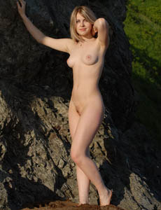 Exciting puffy nipples boobs young playful hairy pussy blonde Marina at the sea side