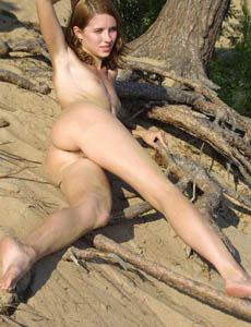 Exciting tiny tits Ksusha with hairy beaver nude on the beach