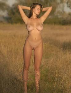 Hairy beaver young beautiful girl Gigi with big boobs nude outdoor