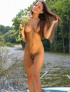 Hairy pussy Analise at the lake in the boat
