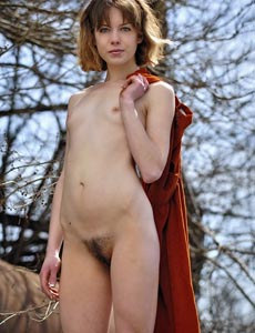 Hairy pussy Emily nude outside