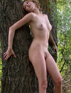 Hairy pussy Margo nude in the forest