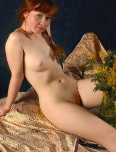 Hairy pussy redhead Ginger got some flowers
