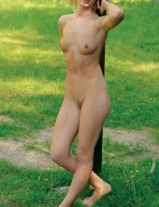 Sexy blonde Alex outside