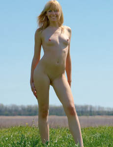 Sexy blonde puffy nipples Katalina nude in the forest
